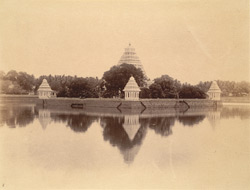 View of the Teppakulam Tank looking towards the temple on the central island, Madurai